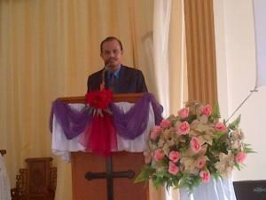 Sambutan Tahun Baru 2014 mewakili BPMJ / Majelis Jemaat oleh sekretaris BPMJ SNK. Ir. Firman Hulu (A. Intan Hulu)